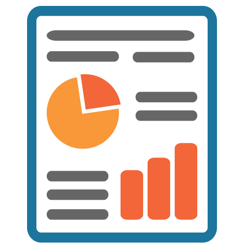 Icon depicting a report with graphs and charts